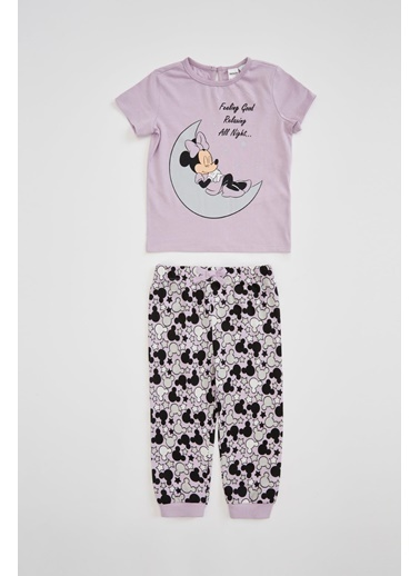 DeFacto Kız Bebek Minnie Mouse Lisanslı Pijama Takımı Mor